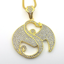 New Fashion Large Size Crystal Music pendant Hip hop Necklace Jewelry Bling Bling Iced Out N632