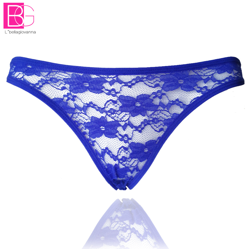 L'bellagiovanna Women's G String Lace Striped Thong Female Underwear Briefs See Tangas Calcinhas Bragas 8005