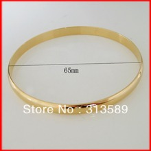 "MIN ORDER10$/ CAN MIX DESIGN / GREAT - YELLOW GOLD SOLID OVERLAY FILL BRASS SMOOTH PLAIN SURFACE 2.56"" 6MM BANGLE/GREAT GIFT/"