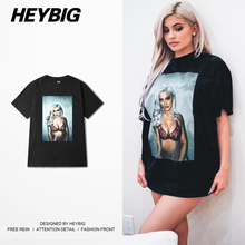 Sexy Hot Nighclub YOUTH leisure Short sleeve t-shirts HEYBIG 2017 ss clothing front big Print tee Asian size MEN and women tops