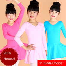 2-5Y Children Gymnastics Leotard Pink/Black Leotard Girls Cotton Ballerina Clothes Children Kids Dance Exam Dresses For Sale(China)