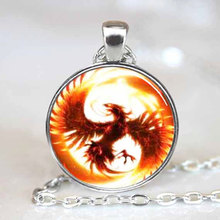 2017 New Phoenix Necklace Phoenix Pendant Round Bird Jewelry Silver Link Chains Glass Cabochon Pendants Necklaces Gifts Men