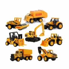 8Pcs/Set Interesting Children Car Toys MINI Truck Excavator Truck Mountain Bike Crane Forklift Simulation Cute Model Gifts(China)