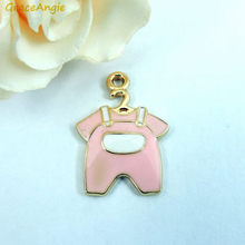 Buy GraceAngie 10pcs Shiny Gold Color Zinc Alloy Base Gentle Pink White Enamel Baby Newborn Suite Cloth Cute Pendant Charm 22*15mm for $1.45 in AliExpress store