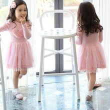 Spring Toddler Baby Girls Pink Heart Long Sleeve Girls Princess Party Cotton Dress Kids Clothes  infant Dress