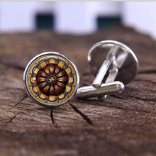Silver Mens Shirt Cuff  New gray flowers alarm clock dome glass henna yoga Cufflinks jewelry Christmas gift