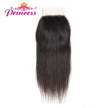 Beautiful Princess Peruvian Straight Hair Lace Closure 4*4 Free Part Closure Non-remy Hair 100% Human Hair Shipping Free(China)