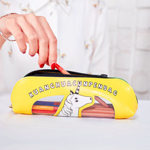 4 Colors Popular Korean Style Creative Leather Stationery Bag Cartoon Pencil Case with Transparent Window Office School Supplies
