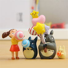 4pcs/lot Holiday Balloon Totoro Figure Studio Ghibli Toy Action My Neighbor Totoro Figures Action Japan Anime Table Deco Art Toy