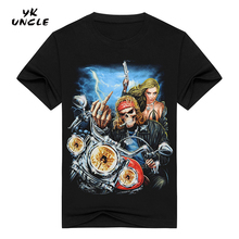 YK UNCLE Brand New 2017 Summer Men Cotton Short Sleeve T-shirts Fashion O-neck Casual Motorcycle Skull Sexy Girl Printed T shirt(China)