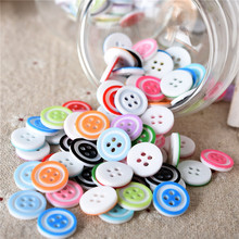 300Pcs 13mm 4 Holes Round Mixed Resin Buttons Decorative Sewing Buttons Flatback Scrapbooking Crafts Sewing Accessories(China)