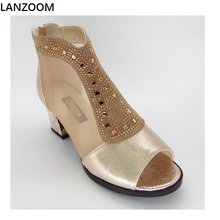 LANZOOM 2017 summer boots women air mesh side suede crystal T style ankle boots women female open toe high heels big size shoes