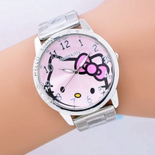Nice Hello Kitty women Ladies girl's cartoon Wrist Watch Indicate Time Quartz Dial Diamond Stainless Steel Band(China)