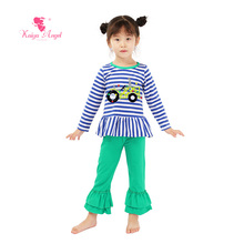 2017 Kaiya Newest Toddler Kids Boutique Clothes Wholesale Fall Clothing Girls Outfitst Birthday Gift Baby Summer Pajamas Sets