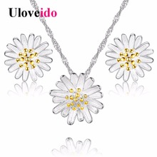 Uloveido Flower Necklace and Earring Set Silver Color Kids Jewellery for Girls Ladies Jewellery Sets Parure Bijoux Femme DML01