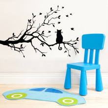 ZooYoo Cartoon Cat On Long Tree Branch Wall Sticker Animals Cats Art Decal Kids Room Decor Home Decorations Mural