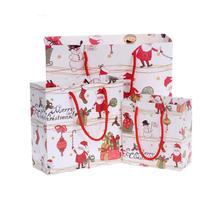 1 pc Christmas Paper Gift Bags With Handle For Food Packaging Christmas Gift Bag Cookies Bag Shopping Bag #30(China)