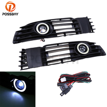 POSSBAY 1Pair Front Grille Angel Eyes Ring Auto Car Fog Light Headlight For VW Passat B5.5 Santana 2001 2002 2003 2004 2005(China)