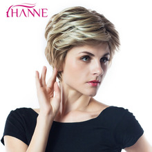 HANNE Mix Brown Blonde 613 High Temperature Fiber Synthetic Wigs For Black/White Women Natural Wave African American Short Wig(China)