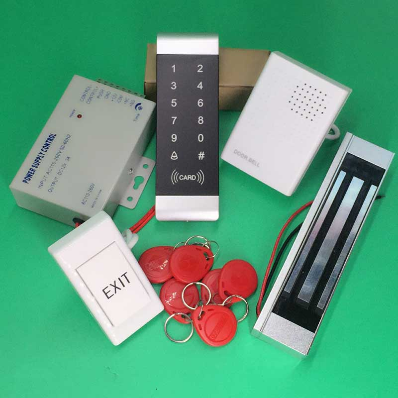 180kg 350Lbs Electric Door Lock Set+Exit button+Card Keytab+Power Supplier Touch Keypad Access controller<br>