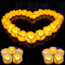 Flameless Battery Christmas Halloween Wedding LED Tea Light Flickering Tealights night light Electric Candles Candles 12pcs(China)