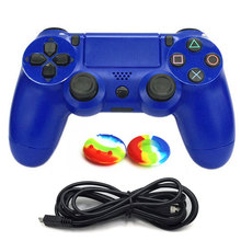 Wired Gamepad Game Controller for PS4 Sony Playstation 4 USB Game controller Vibration with USB Cable +2 Silicone Thumbstick Cap