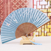 Gift packed Chinese Real Silk Folding Fans Blue Butterfly Bamboo Handheld Fans with Elegant Tassels Free Shipping GYS808-1