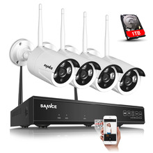 SANNCE  Plug and Play 4CH Wireless NVR Kit P2P 720P HD Outdoor IR Night Vision Security IP Camera WIFI CCTV System 1TB HDD