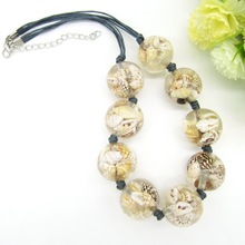 Newest Item Nature Shells Inside the Transparant Round Beads Female`s Short Necklace(China)