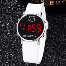 Relogio Feminino LED Digital Hello Kitty Cartoon Watch Women Fashion Silicone Children Quartz-watch Female Clock Girls Relojes(China)