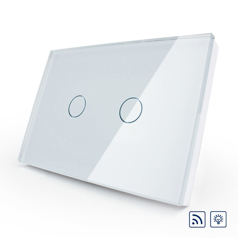US/AU Smart Switch 2017, Ivory White Crystal Glass Panel,110~250V/50~60Hz Wireless Dimmer Remote Light switch<br>