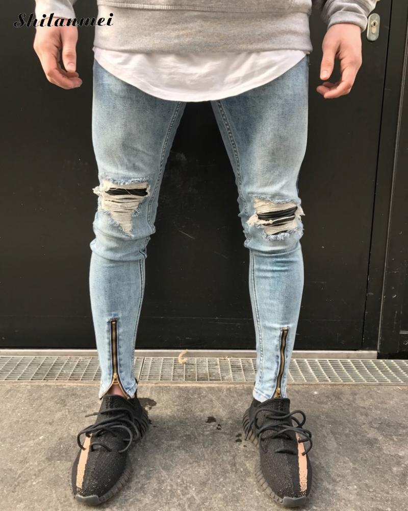 New Design Zipper Jeans for Men Skinny Destroyed Slim ripped Jeans Masculino Hip Hop Swag Tyga Light Blue Patchwork biker Jeans Îäåæäà è àêñåññóàðû<br><br>