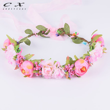 CXADDITIONS Ribbon Adjustable Camellia Flower Crown Wedding Bridal Tiara Hair Accessory Floral Crown Headband Woman Headwrap(China)