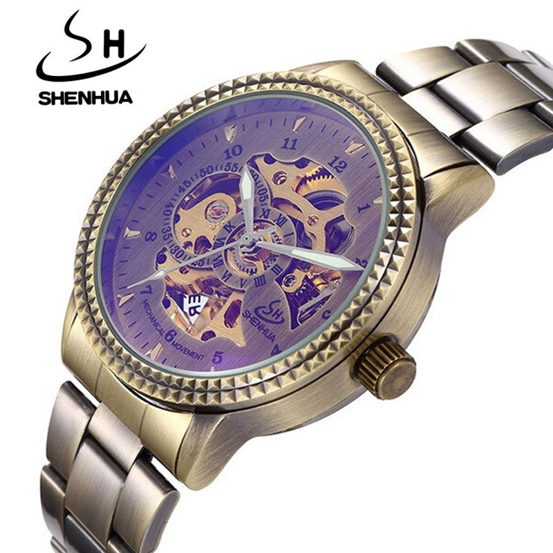 Retro Bronze Mens Skeleton Watch Male stainless steel Strap Antique Vintage Watch Automatic Skeleton Mechanical Watch<br><br>Aliexpress