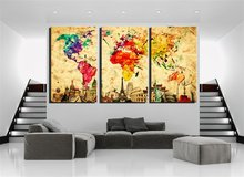 Damenight 3 Panel Wall Art painting for home decor Original Wonders of the World Old Paper Map Colorful Wall