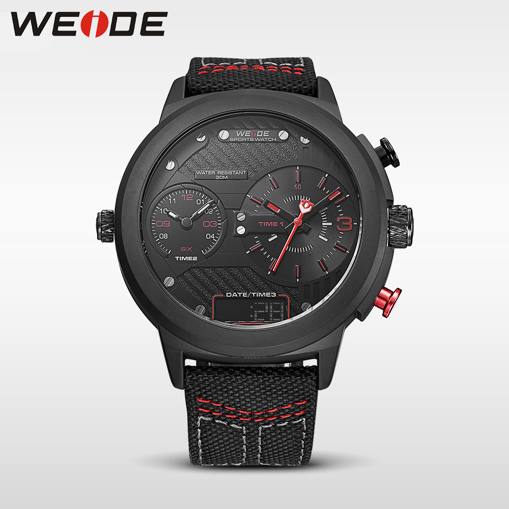 WEIDE genuine 2017new nylon watchband Double time zone Red big dial watch quartz men sports watches water resistant analog black<br>