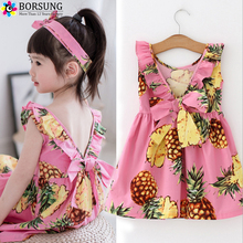 BORSUNG Girls Sleeveless Pineapple Printing Dresses For Baby Gilr 2017 Latest Toddler Summer Backless Party Dress Kids Clothes