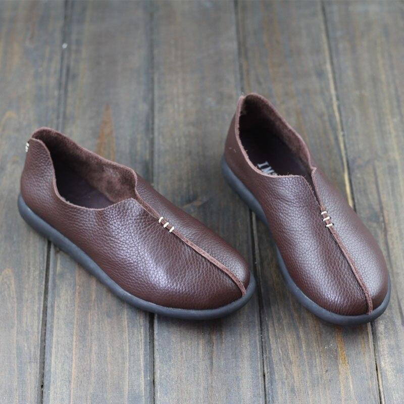 Shoes Woman Flat 100% Genuine Leather women Flat Shoes Round toe Slip on Loafers Massage Rubber Sole Female Footwear(w1688-2)<br><br>Aliexpress