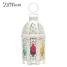 KiWarm White Glass Iron Moroccan Delight Garden Candle Holder Table Hanging Lantern for Home Wedding Party Decor Birthday Gift