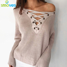 Smoves Autumn Winter Flare Sleeve Knitted Women Sweater Lace up V Neck Pullover Jumpers Casual Loose knitwear Sweater New SW158