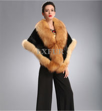 Deluxe Import Black Mink Fur Ponchoes with crystal Fox Fur Trimming Shawls Wraps Elegant Wedding Apparel & Accessory LX00402