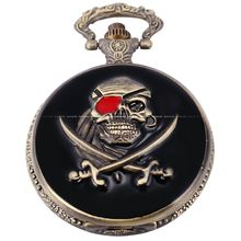 Vintage Classic Retro Antique One-eyed Skull Pirate Hunter Copper Bronze Quartz Men's Gift Pocket Watch Jewelry Chain / WPK109(China)