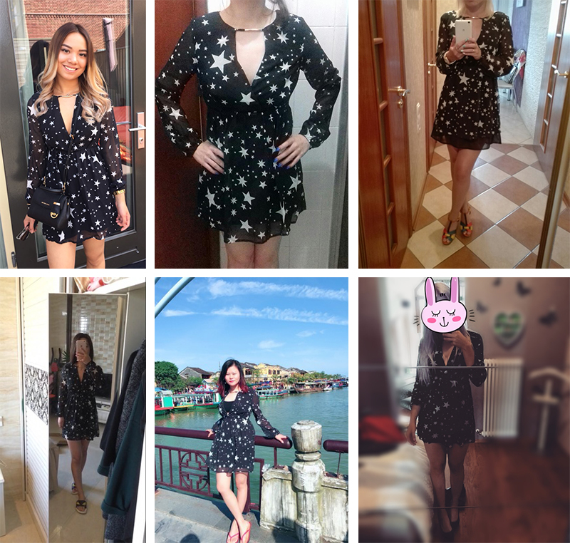 DOMODA Solide Noir Étoiles Imprimé Robes D'été Femmes V-cou Sheer Mini Robe De Mode Sexy Party & Club Casual Robe Femme 20