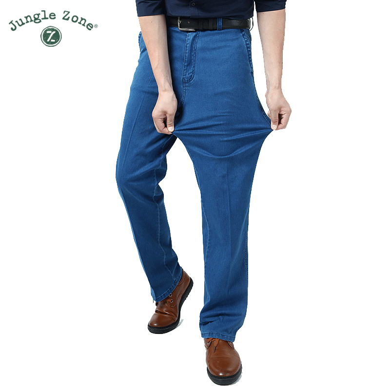 Man Middle-aged Jeans Middle Waist Loose Long Pants Male Solid Straight Jeans For Men Classical large size summer jeans 2017 newÎäåæäà è àêñåññóàðû<br><br>