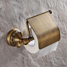 Free Shipping Gift 2pcs a lot Vintage Antique bronze finish Toilet Paper Holder Carved Bathroom Accessories Products ZR2022