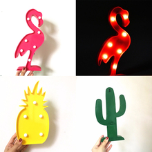 AGM INS Cactus Flamingo LED 3D Night Light Battery Pineapple Nightlight Cactus Decor Marquee Desk Lamp For Kids Gift Decoration