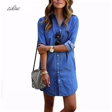 Cheap Women Denim Shirt Chemise 2017 Autumn Femme Long Style Jeans Blouse Shirt Blue Long Sleeve Blusas Tops Camisa S-2XL