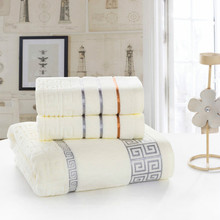100% Cotton Plaid  Towel Sets Yarn Strands Great Wall Bath very soft good quality Towel + Washcloth sets 3 color
