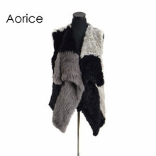VR078 Knitted knit new real rabbit fur vest overcoat jacket women's winter warm genuine fur vest impacting color(China)