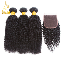 HairUGo Human Hair Pre-colored Malaysian Kinky Curly Wave with Nature Black Lace Closure 3 Bundles With Closure Wig(China)